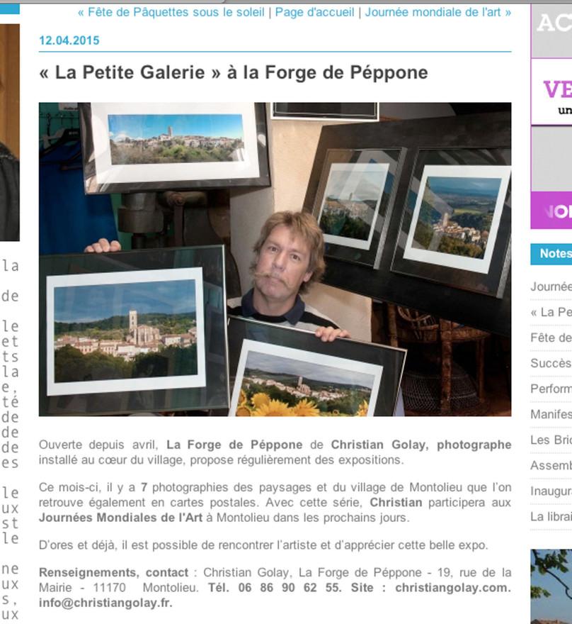 Expo à La Petite Galerie de la Forge : Montolieu