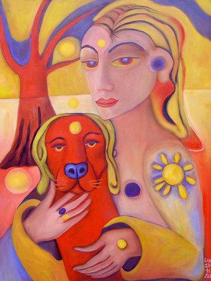 """""""Sonnen-Frau und roter Hund"""""""
