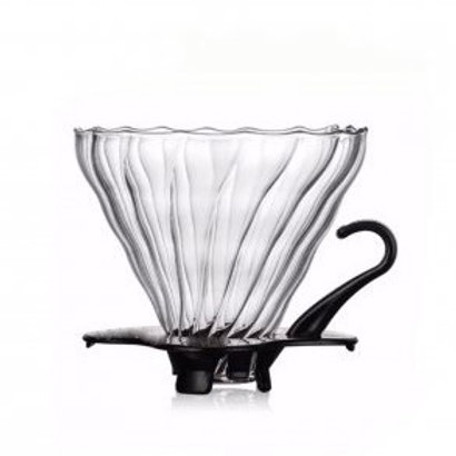 ดริปเปอร์แก้วพร้อมฐานรองสีดำ ( 3-4 cup)