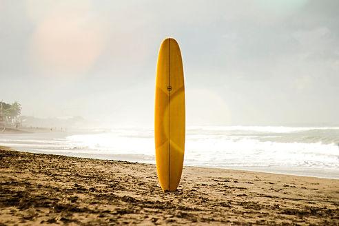 brown%20surfboard%20standing%20on%20sea%