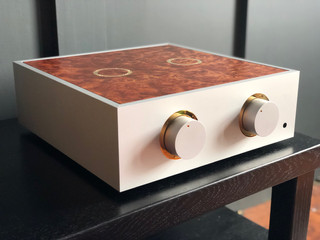 Natural pre-amplifier with gold trim and a camphor burr lid