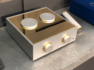 Natural pre-amplifier with gold trim, tall aluminium cowls and gold plated cutout lid