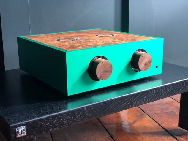 Green pre-amplifier with black nickel trim, custom wooden knobs and  a burr walnut lid