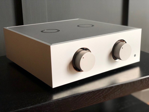 Natural pre-amplifier with black nickel trim, custom knurled knobs and a natural metal lid