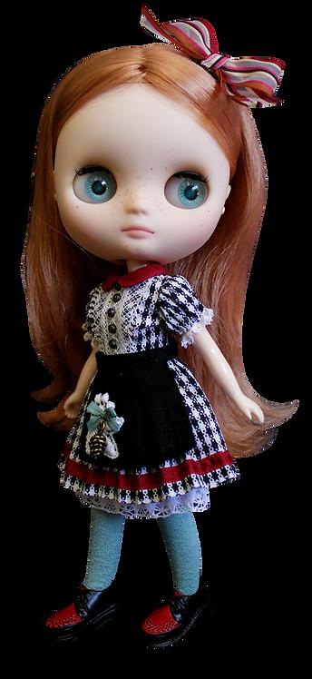 """""""Middie Gingham Dress"""" Black for Middie Blythe dolls"""