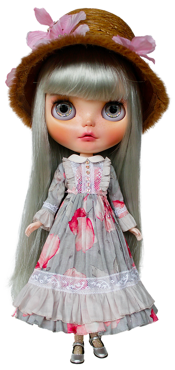 """""""Pink and Grey Maxi Dress"""" for Neo Blythe dolls"""