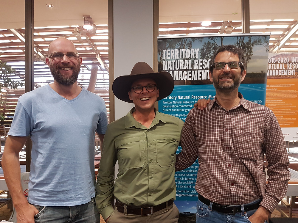 Jon Hodgetts (Territory NRM), Gregory Andrews (Threatened Species Commissioner, DoE) and Chris Pavey (CSIRO)
