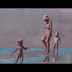 Bleu Dune   Mère et deux enfants I
