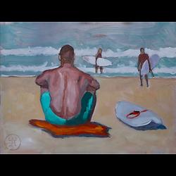 Bleu Dune | Surfeur assis dos