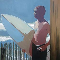 Bleu Dune | Surfeur près de la barrière