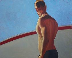 Bleu Dune | Surfeur dos bande rouge