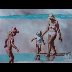 Bleu Dune   Mère et deux enfants III