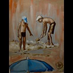 Bleu Dune | 2 garçons aux pelles