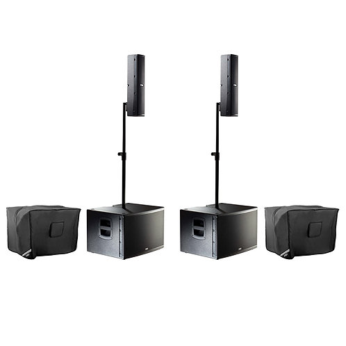 2x FBT VERTUS CS1000 2000W COMPACT LINE ARRAY SPEAKER + SUBWOOFER SYSTEM +COVERS