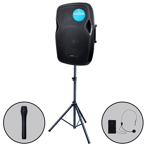 KAM RZ15A V3 PORTABLE 1000W BATTERY POWERED PA SPEAKER BLUETOOTH MP3 +MIC +STAND