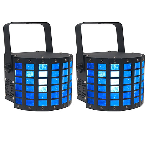 2x AMERICAN DJ ADJ MINI DEKKER RED GREEN BLUE WHITE LED DERBY MOONFLOWER LIGHT