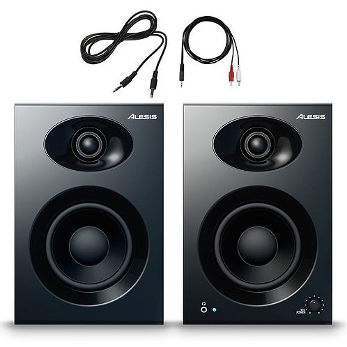 "ALESIS ELEVATE 4 50W POWERED STUDIO OR HOME 4"" MONITOR SPEAKERS + LEADS"