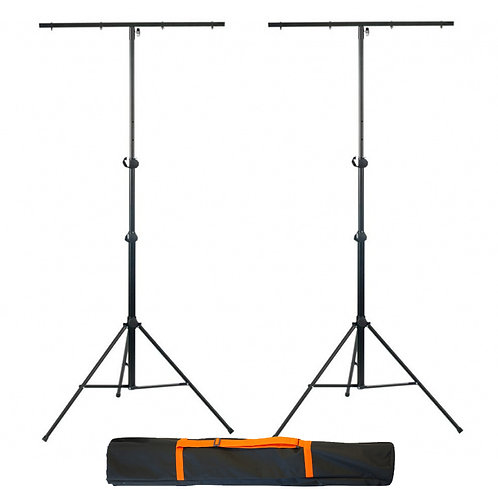 2x ATHLETIC LS-4 PROFESSIONAL T-BAR LIGHTING STANDS FOR UP TO 8 LIGHTS EACH +BAG