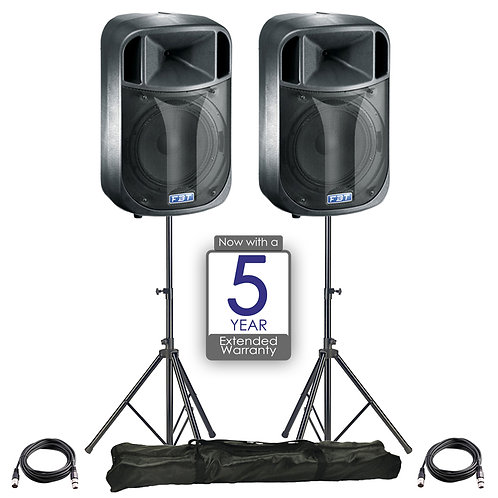 "2x FBT J12A 12"" 900W RMS 128dB POWERED PA SPEAKER DJ DISCO BAND + STANDS + LEADS"