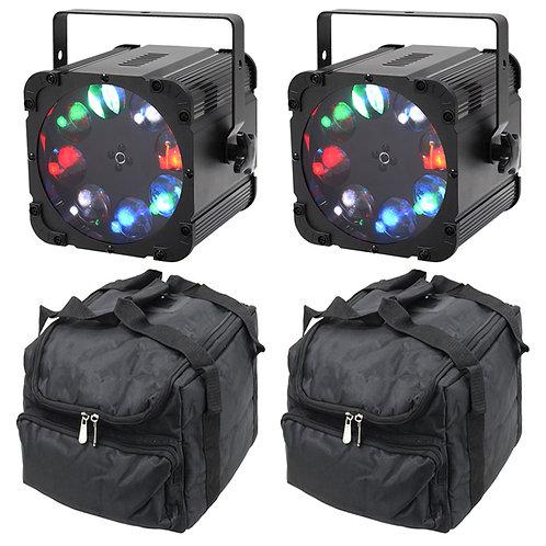 2x EQUINOX CROSSFIRE XP BRIGHT 160W RGBW LED GOBO LIGHT DJ DISCO LIGHTING + BAGS
