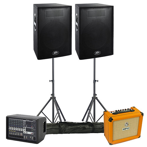 BAND GIG GEAR PA + COMBO AMP PACKAGE HIRE 600W SPEAKERS + 12-CHANNEL MIXER + FX