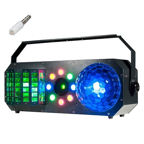 AMERICAN DJ ADJ BOOM BOX FX1 4-FX-IN-1 LED DERBY + WASH LIGHT + LASER HIRE