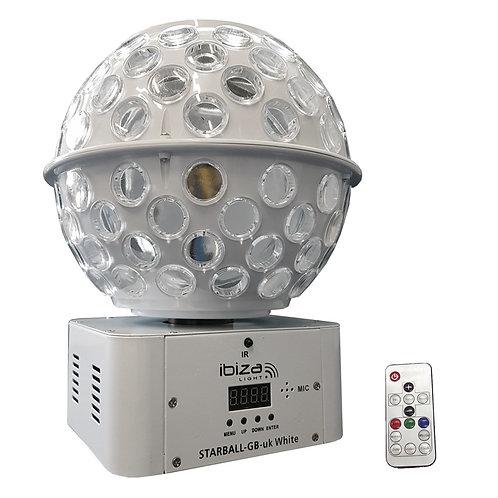 IBIZA LIGHT STARBALL-GB WHITE GOBO + BEAM FX LED MIRRORBALL DJ DISCO LIGHTING