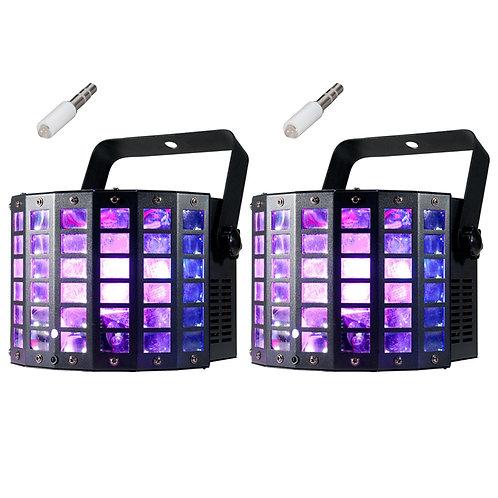 2x AMERICAN DJ ADJ MINI DEKKER LZR 2-FX-IN-1 LED RGBW MOONFLOWER LIGHTS + LASERS