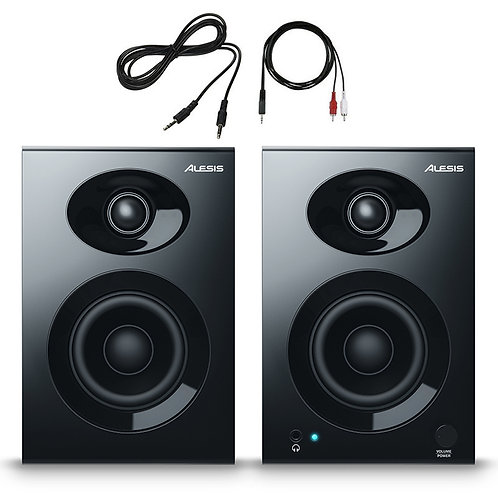 "ALESIS ELEVATE 3 MKII 3"" 20W POWERED STUDIO OR HOME MONITOR SPEAKERS + LEADS"