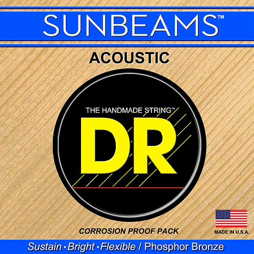 DR SUNBEAMS MEDIUM ACOUSTIC GUITAR STRINGS FOR A BRIGHT SOUND WITH SUSTAIN