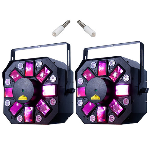 2x AMERICAN DJ ADJ STINGER II 3-IN-1 MOONFLOWER + STROBE + UV LED LIGHT + LASER