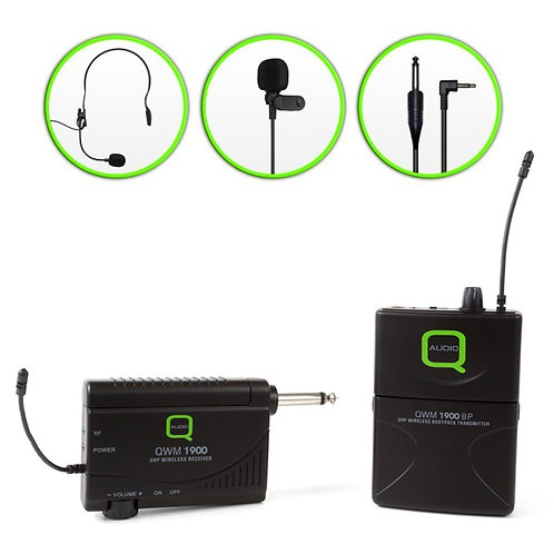 Q-AUDIO QWM1900 BP UHF WIRELESS HEADSET +LAVALIER MICROPHONE + INSTRUMENT SYSTEM