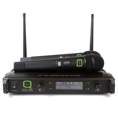 Q-AUDIO QWM1932 V2 HH UHF PROFESSIONAL DUAL WIRELESS HANDHELD MICROPHONE MIC KIT