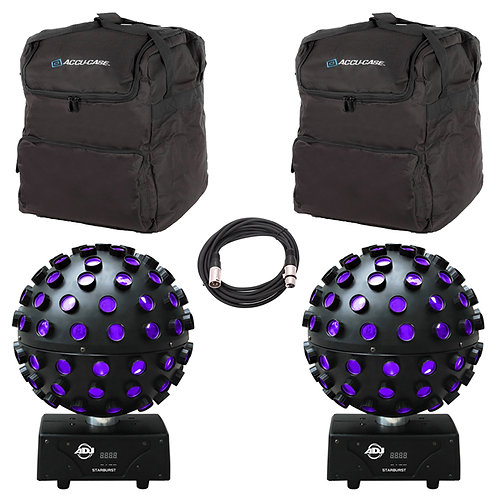 2x AMERICAN DJ ADJ STARBURST LED MIRROR BALL EFFECT DISCO LIGHT +BAGS +DMX LEAD