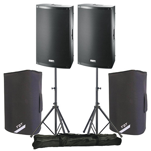 "2x FBT X-LITE 15A PROFESSIONAL 15"" 2000W POWERED PA SPEAKERS + COVERS + STANDS"