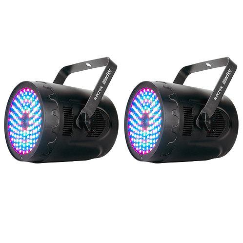 2x AMERICAN DJ ADJ RAYZER LED PAR CAN WASH LIGHT + RGB PATTERN LASER DISCO BAND