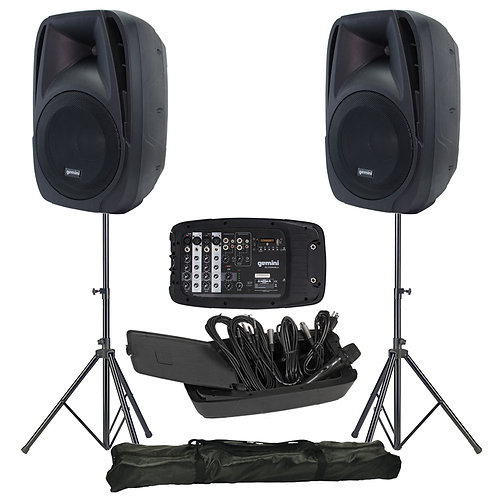 GEMINI ES-210MX-BLU 600W PA SPEAKER SYSTEM + MIXER + MEDIA PLAYER + MIC + STANDS