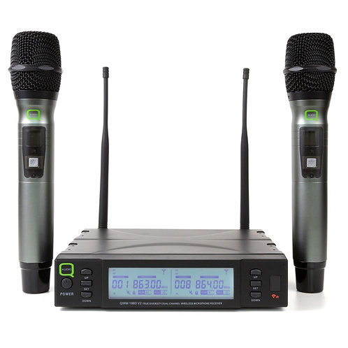 Q-AUDIO QWM1960 V2 HH UHF TRUE DIVERSITY DUAL WIRELESS HANDHELD MICROPHONE KIT