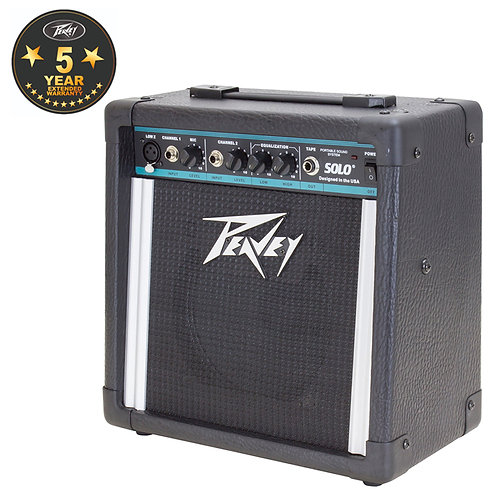PEAVEY SOLO BATTERY POWERED 15W GUITAR COMBO AMP + 2-CHANNEL PORTABLE PA SPEAKER