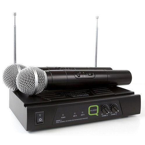 Q-AUDIO QWM11 QUALITY DUAL VHF WIRELESS HANDHELD MICROPHONE SYSTEM HIRE