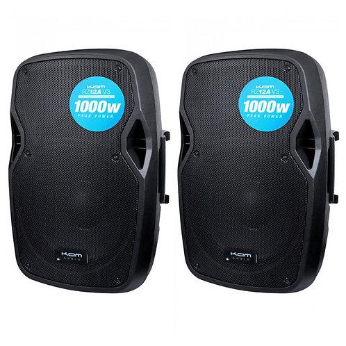 "2x KAM RZ12A V3 2000W 12"" POWERED ACTIVE PA SPEAKER WITH EQ DJ DISCO BAND CLUB"