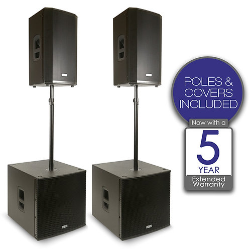 FBT VN4000 2x VENTIS 112A SPEAKER + 2x SUBLINE 118SA SUBWOOFER PA SYSTEM +COVERS