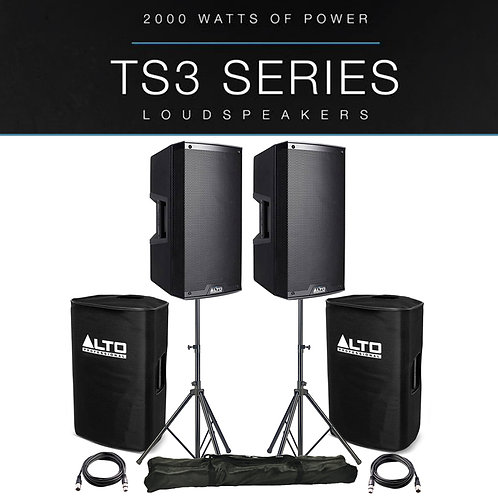 "2x ALTO TS315 15"" 4000W POWERED ACTIVE PA SPEAKER + COVERS + STANDS + XLR LEADS"
