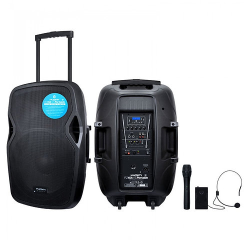 KAM RZ15A V3 PORTABLE 1000W BATTERY POWERED PA SPEAKER SYSTEM + BLUETOOTH + MICS