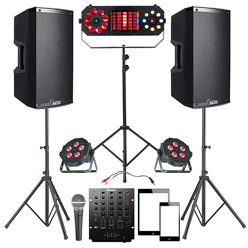 PLUG & PLAY PARTY DISCO PACKAGE HIRE 1100W SPEAKERS + MIXER + LIGHTING + MIC