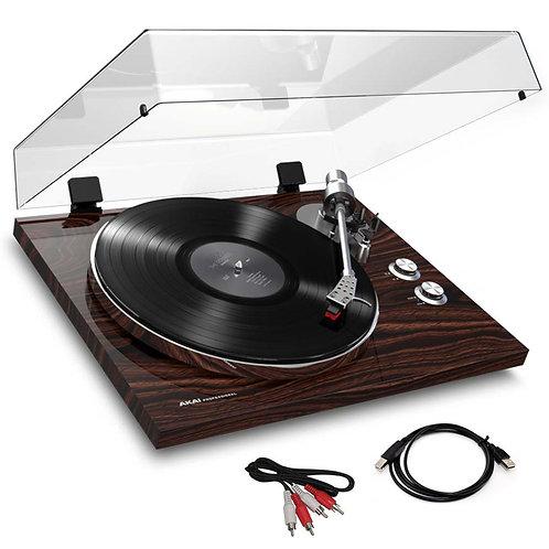AKAI BT500 HI-FI TURNTABLE RECORD PLAYER + BLUETOOTH + CARTRIDGE + SOFTWARE