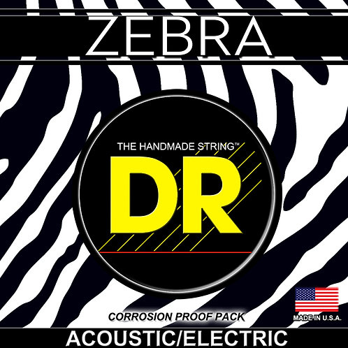 DR ZEBRA LIGHT ELECTRO-ACOUSTIC GUITAR STRINGS FOR A RICH SOUND