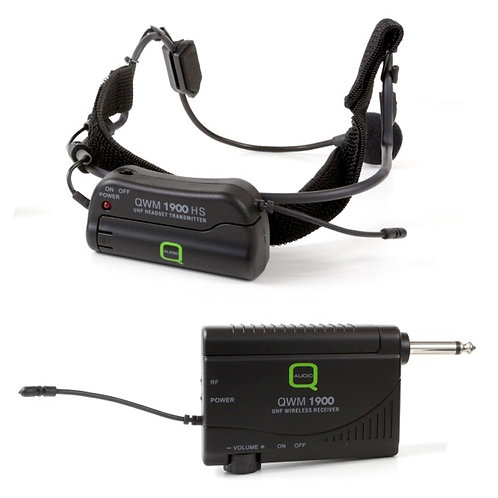 Q-AUDIO QWM1900 HS WIRELESS RADIO HEADSET MICROPHONE + UHF RECEIVER SYSTEM