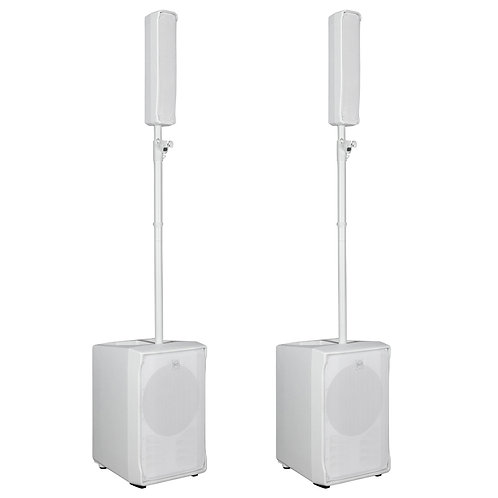 2x RCF EVOX J8 WHITE 2800W POWERED COLUMN ARRAY SPEAKER + SUBWOOFER PA SYSTEM