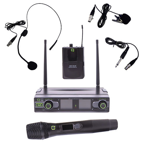 Q-AUDIO QWM1950 HH + BP WIRELESS MICROPHONE SYSTEM HANDHELD HEADSET LAPEL GUITAR